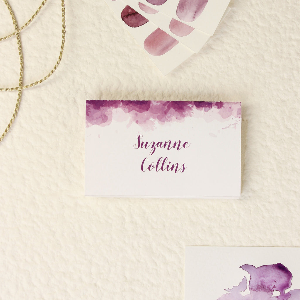 Purple Watercolour Place Card