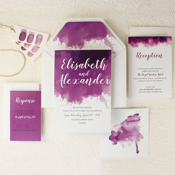 Purple Watercolour Wedding Save the Date / Thank You / Reply Card