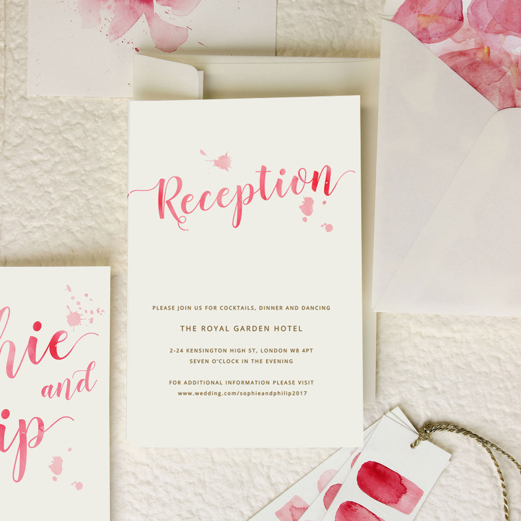 Romantic Pink Watercolour Wedding Evening Invitation