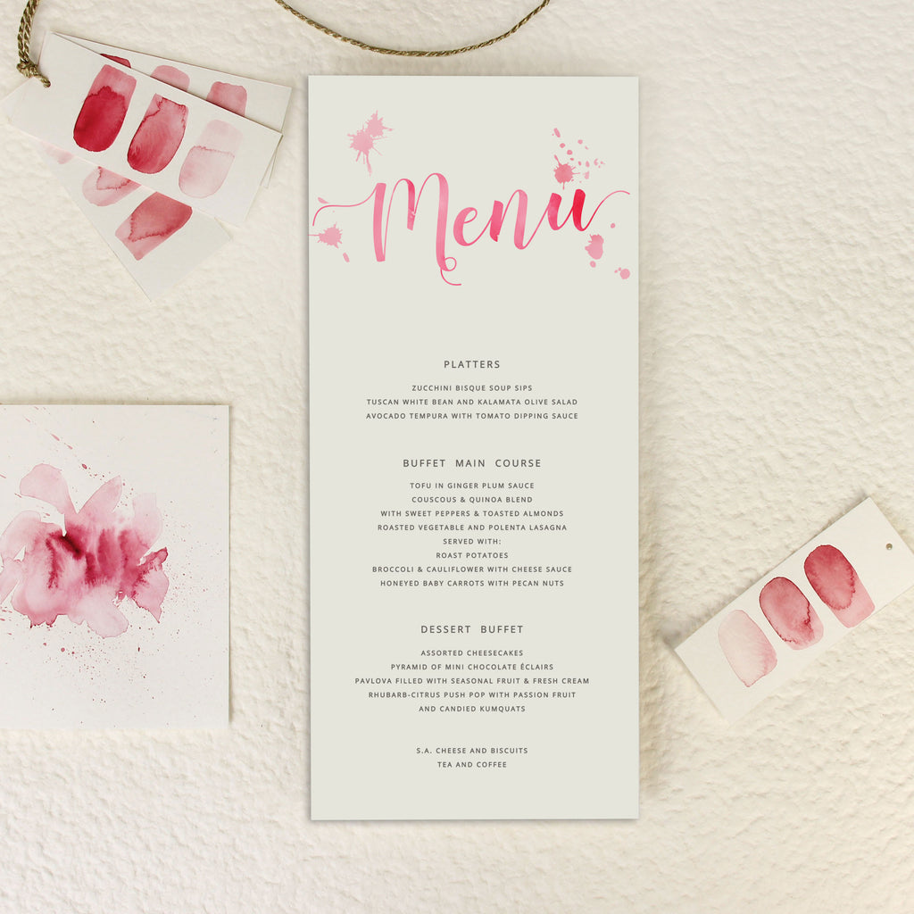 Romantic Pink Watercolour Order of Service/Menu