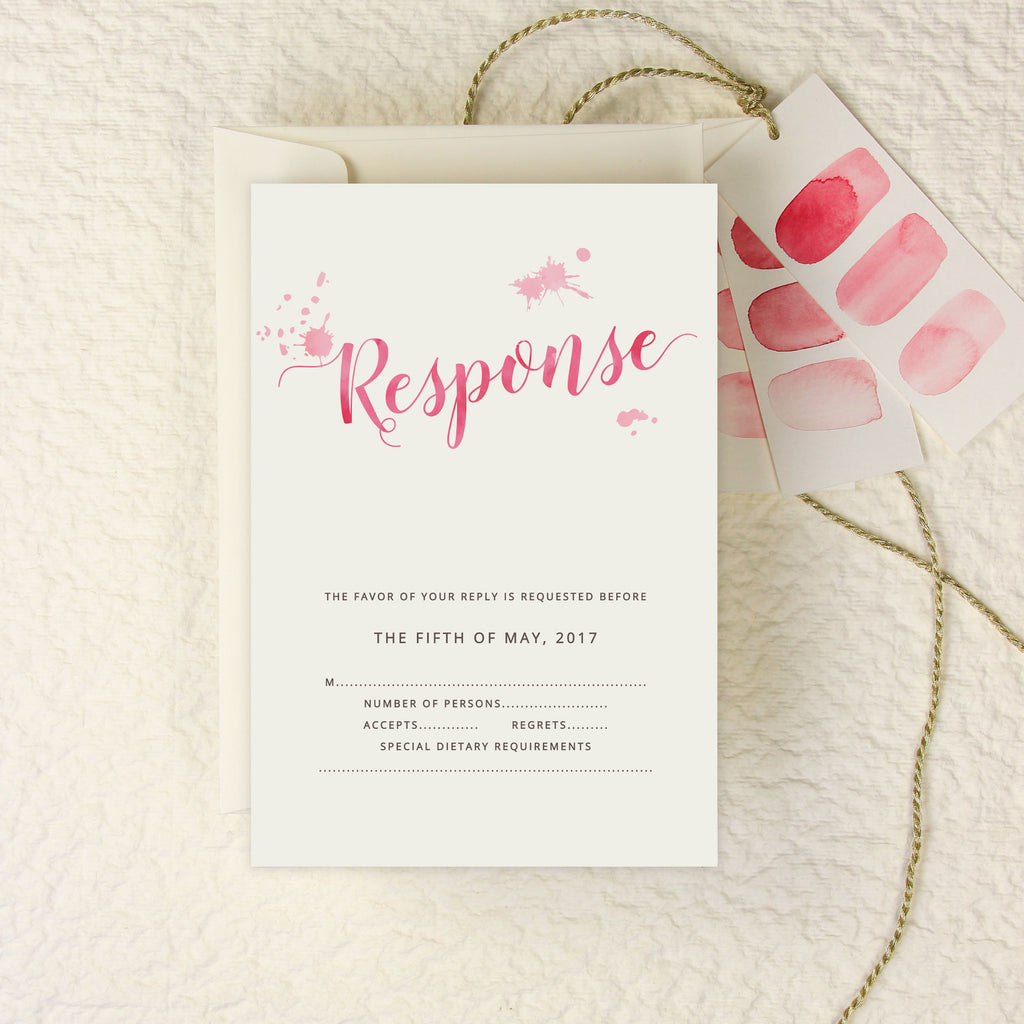 Romantic Pink Watercolour Wedding Reply Card, Rsvp