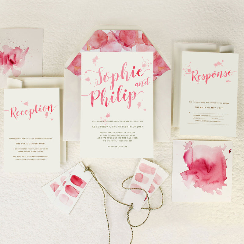 Romantic Pink Watercolour Wedding Save the Date / Thank You / Reply Card