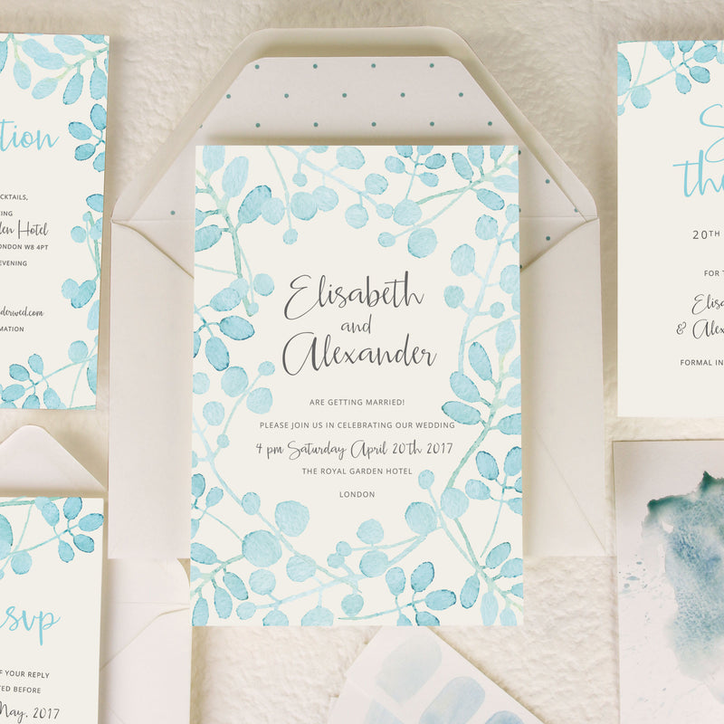 Baby Blue Leaf Watercolour Wedding Reply Card, Rsvp