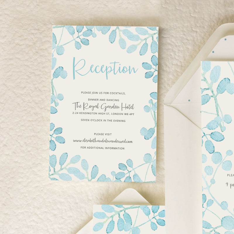 Baby Blue Leaf Watercolour Wedding Evening Invitation