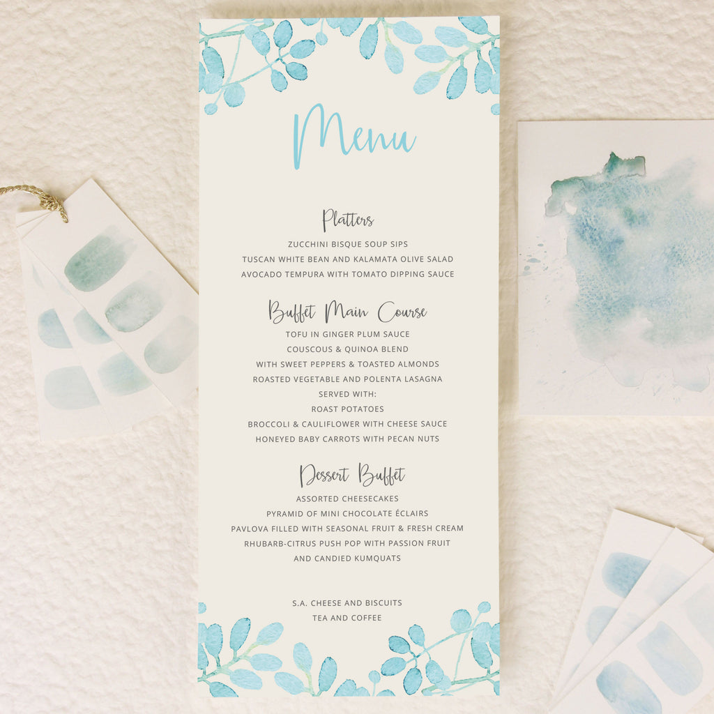 Baby Blue Leaf Watercolour Order of Service/Menu