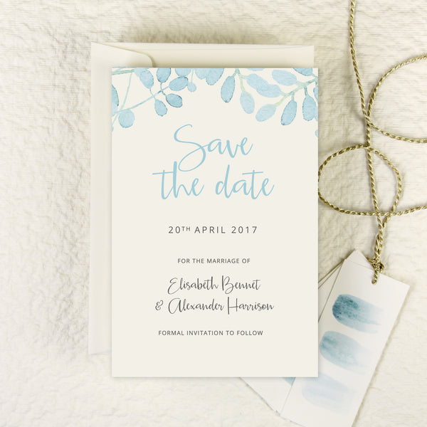 Baby Blue Leaf Watercolour RSVP / Thank You / Save the Date
