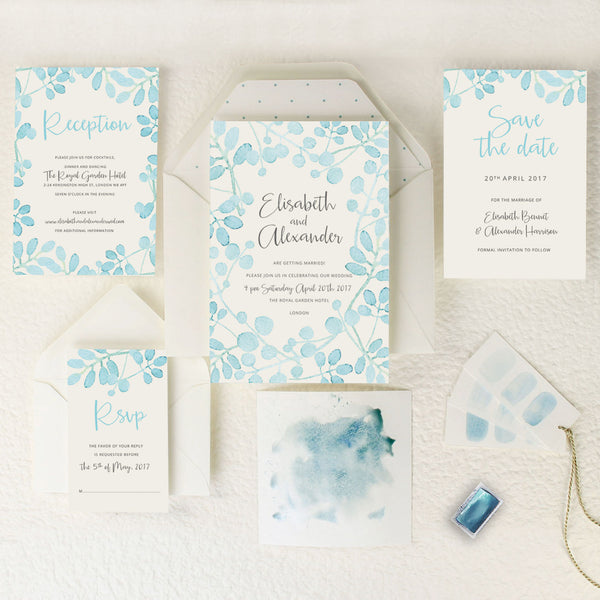 Baby Blue Leaf Watercolour  Save the Date