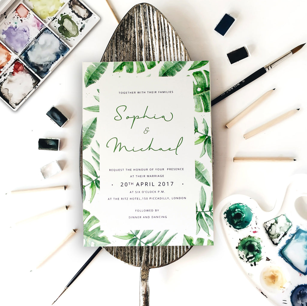 Tropical Green Forest Watercolour Wedding Day Invitation