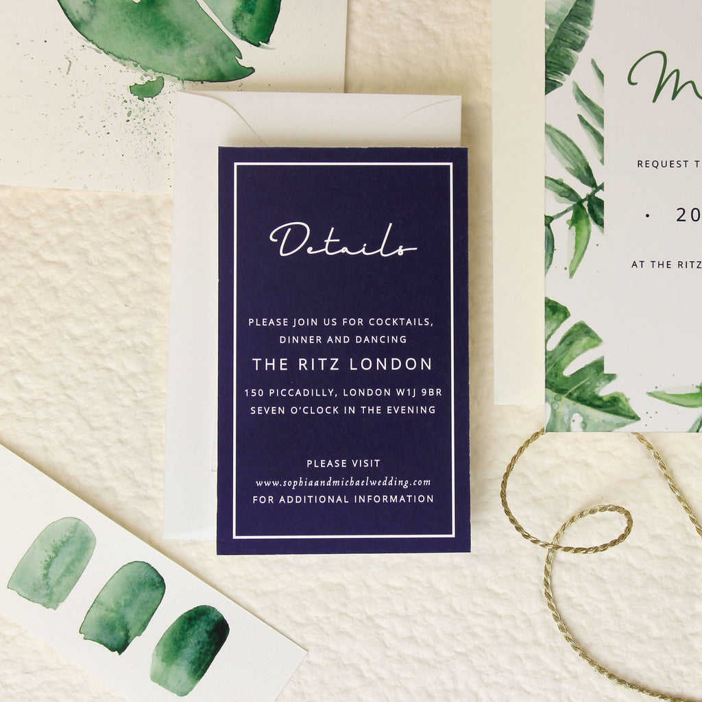 Tropical Forest Watercolour Wedding Evening Invitation