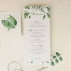 Tropical Forest Watercolour Order of Service/Menu
