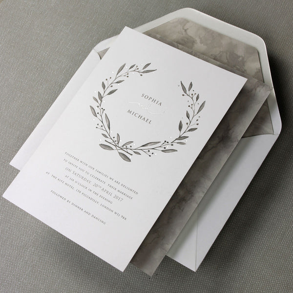 Marble Grey with Silver Foil Watercolour Wedding Save the Date / Thank You / Reply Card