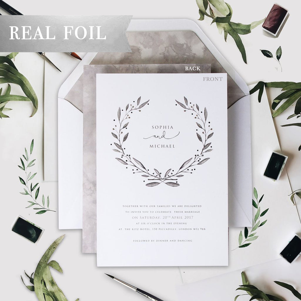 Marble Grey with Silver Foil Watercolour Wedding Day Invitation