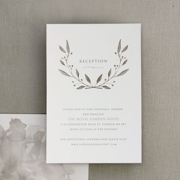 Marble Grey with Silver Foil Watercolour Wedding Evening Invitation