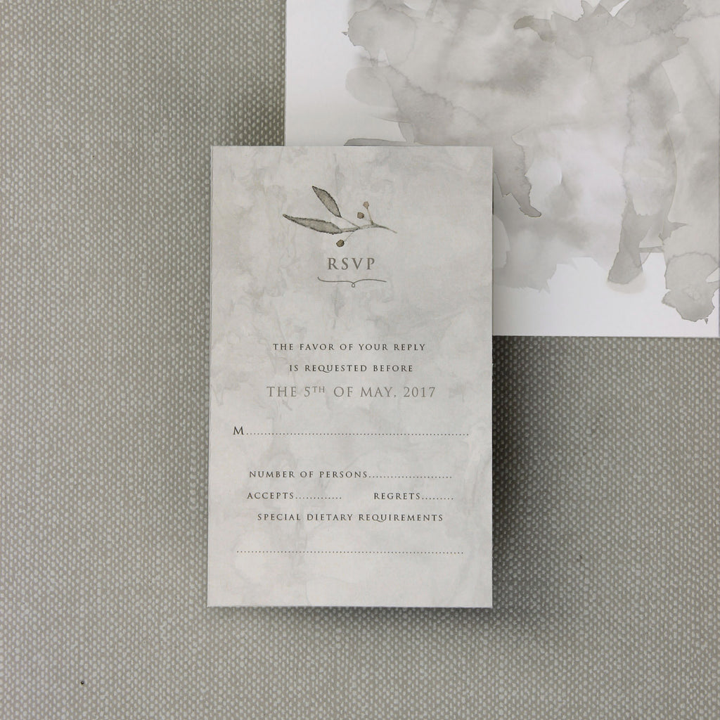 Marble Grey Watercolour Wedding Reply Card, Rsvp