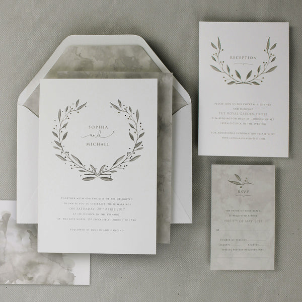 Marble Grey with Silver Foil Watercolour Place Card