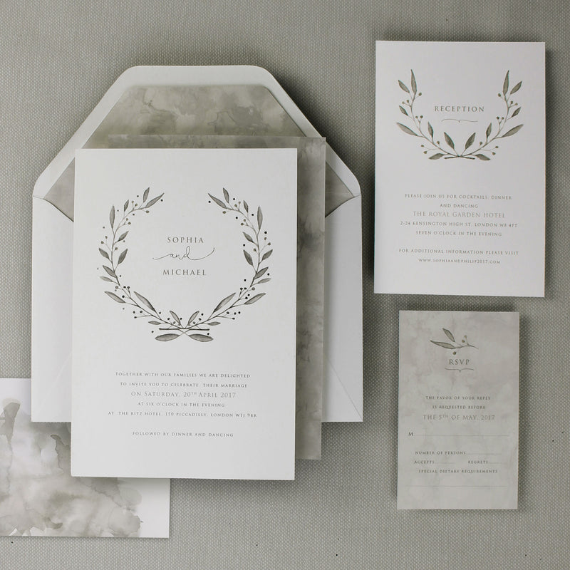 Marble Grey Watercolour Wedding Evening Invitation