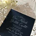 DIY Luxury Kit for Laser Cut White & Navy Wedding Invitation with Vellum Band and Wax Seal