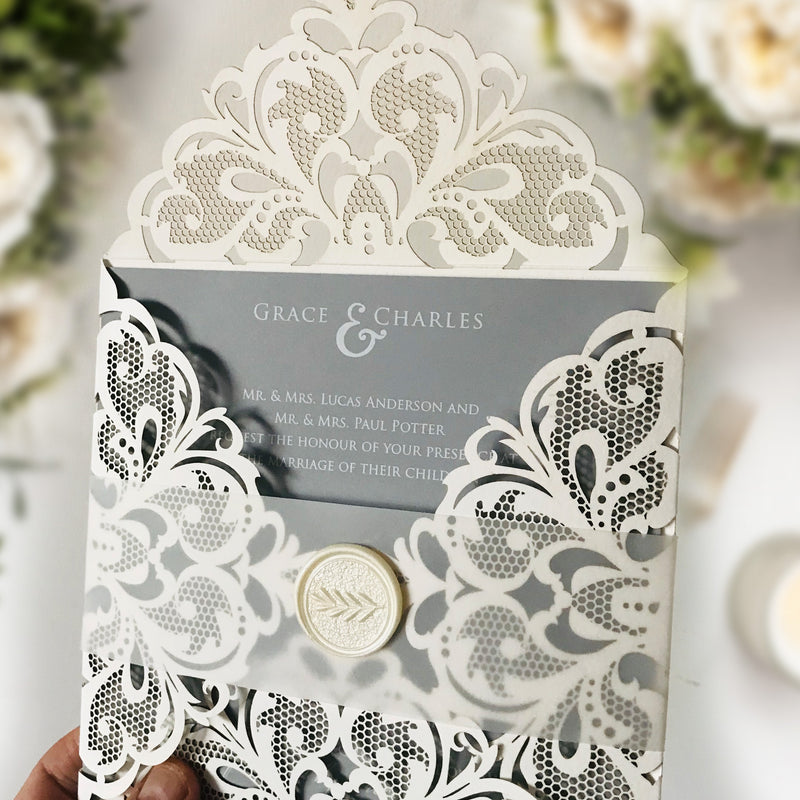 DIY Luxury Kit for Laser Cut White Wedding Invitation with Grey Insert Vellum Band and Wax Seal