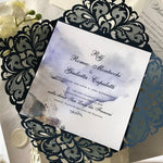 DIY Luxury Kit for Laser Cut Wedding Invitation in Navy with Vellum Band and Wax Seal