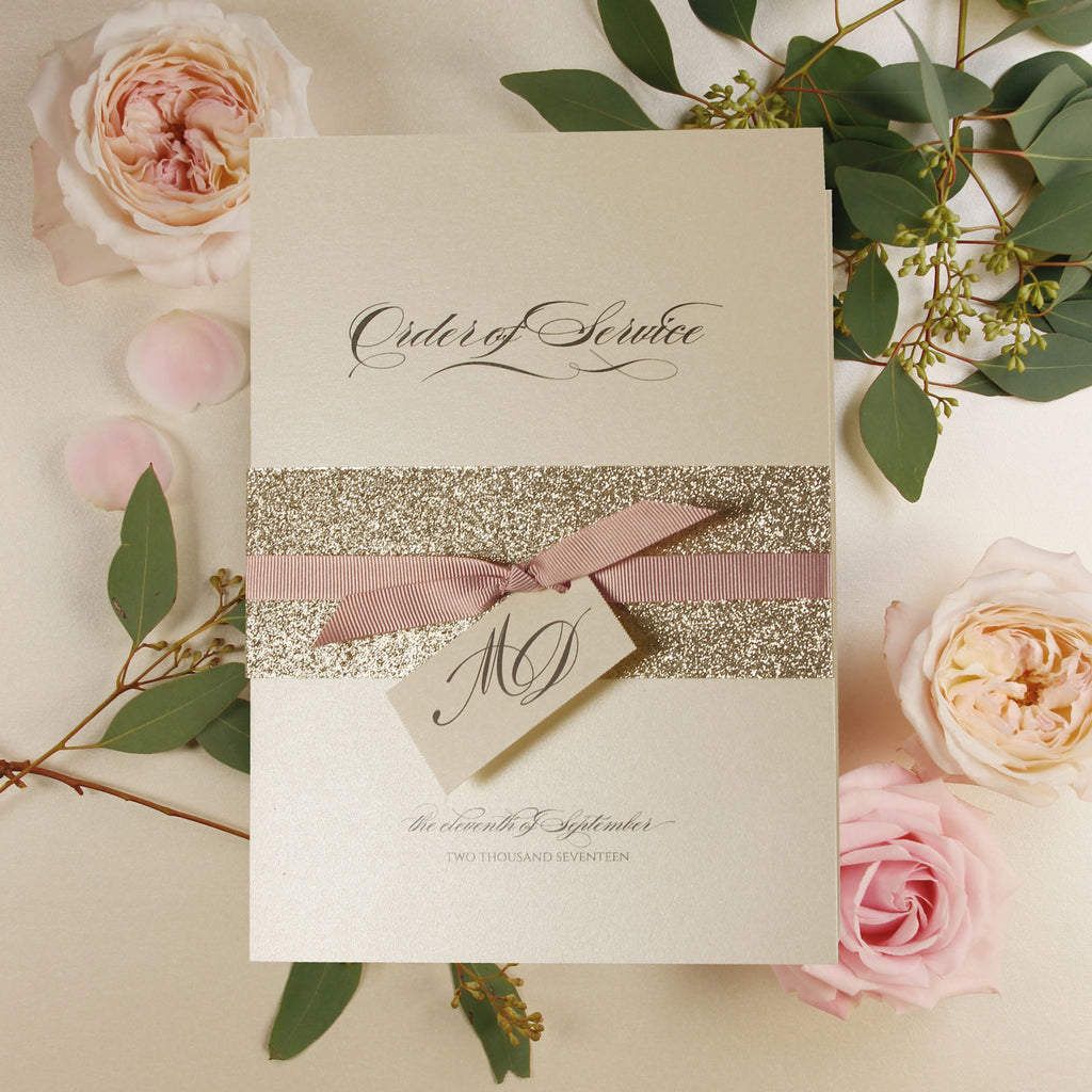 Modern Gold Glitter Wedding Simple Dusty Pink Ribbon Order of Service / Menu