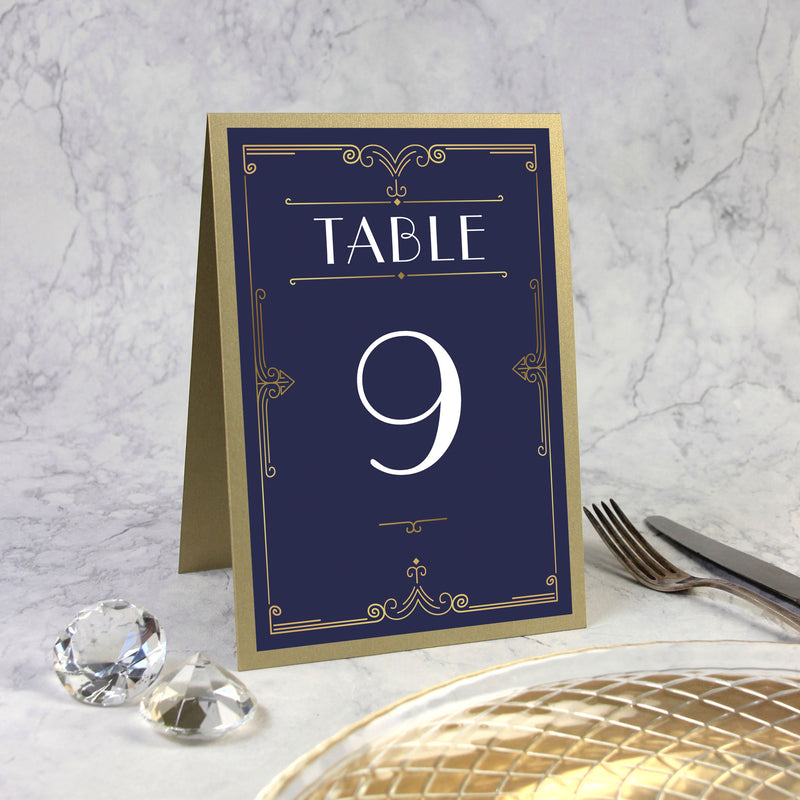 Table Number for Golden Art Deco Great Gatsby Laser Cut
