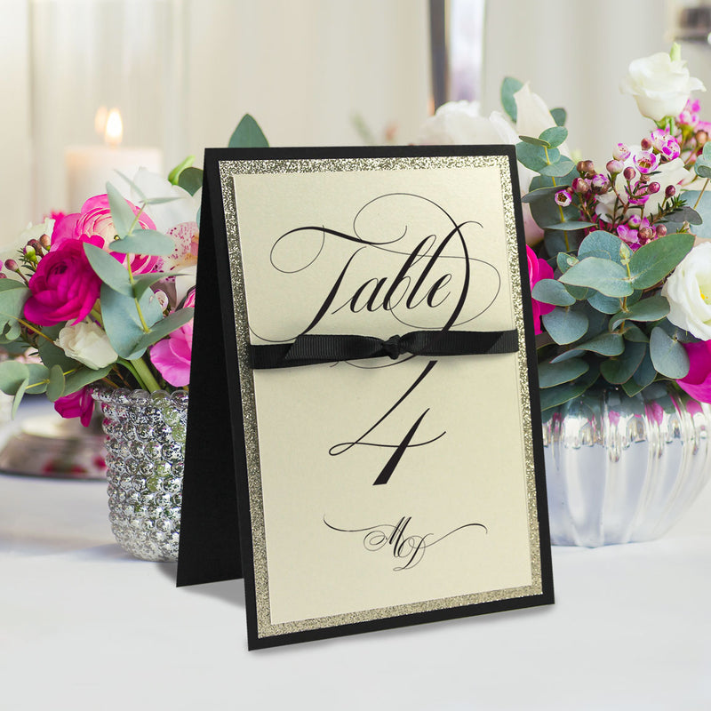 Table Number Black Opulence Luxury Card with Gold Glitter and Ribbed Ribbon