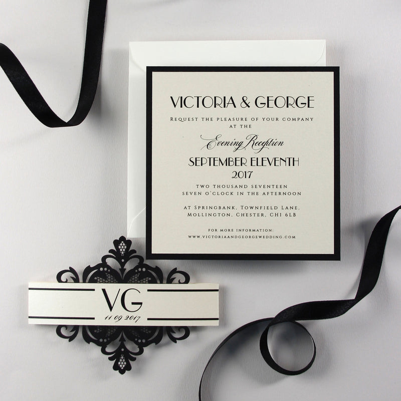 Art Deco Great Gatsby Luxury Black Tie Laser cut Evening Wedding Invitation with Monogram Belly Band