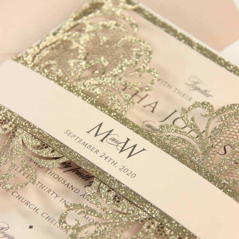 Gold Glitter Sparkle Laser cut Set Wedding Invitation with Monogram Belly Band