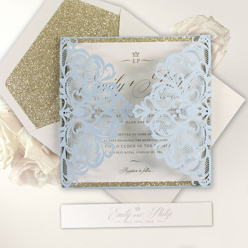 Light Blue Luxury Gatefold Laser cut with Belly Band,Envelope, Glitter Liner
