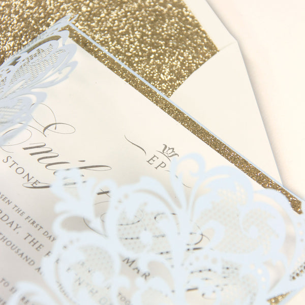 Light Blue Luxury Gatefold Laser cut Set Wedding Invitation with Belly Band and Matching Envelope With Glitter Liner