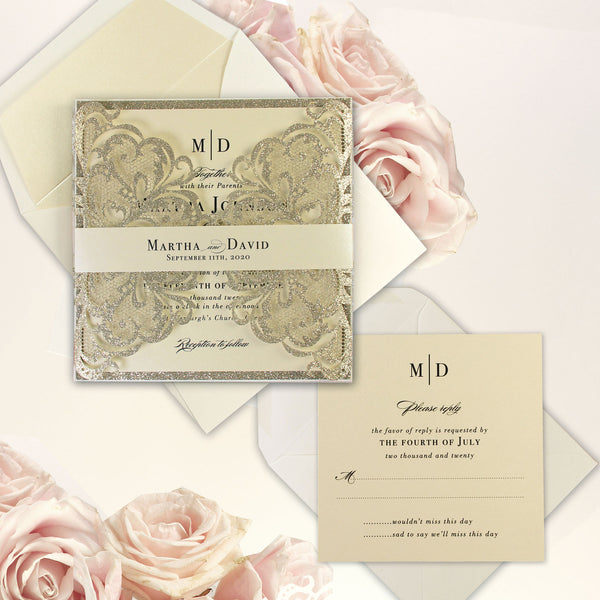 Cream Champagne Metallic Luxury RSVP / Extra Info / Accommodation Card