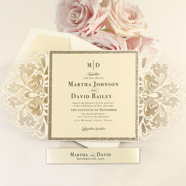 Gold Glitter and Cream Luxury Gatefold Laser cut Set Wedding Invitation with Belly Band  Including Envelope + Liner