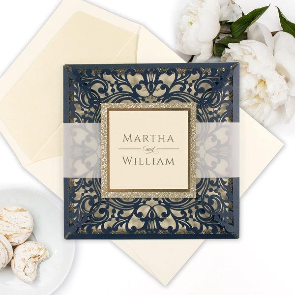 Beautiful Square Quad Fold Navy and Gold Glitter RSVP