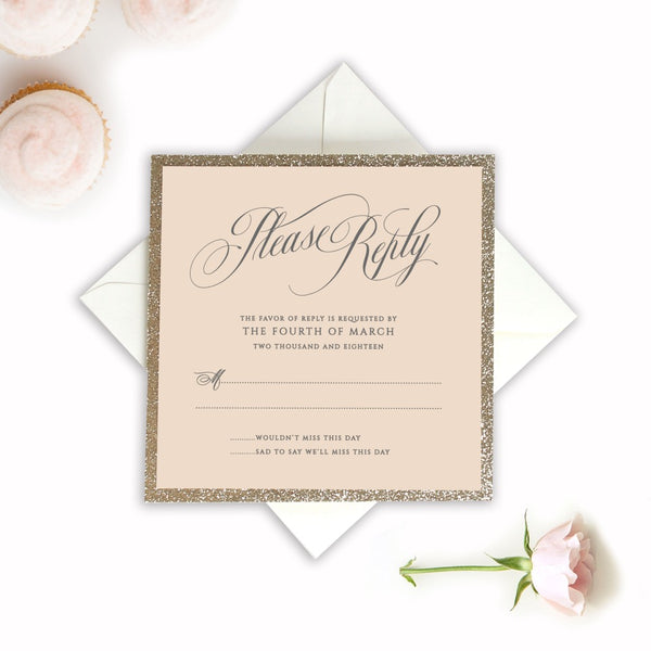 Beautiful Blush Rose Laser Cut RSVP with Glitter