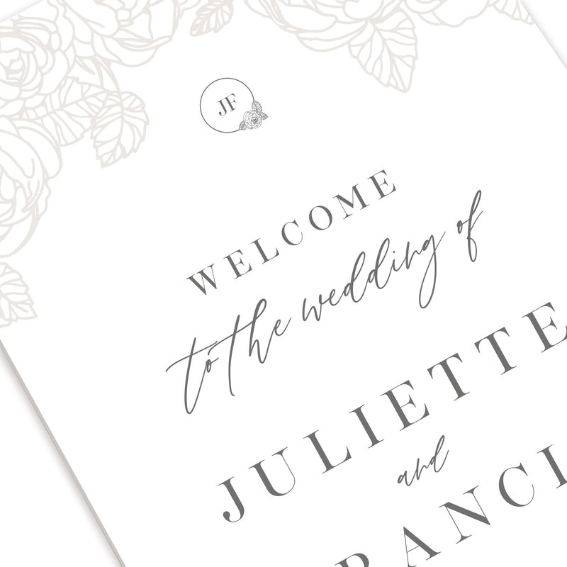 Romantic Roses Grey and Classic Welcome Wedding Sign