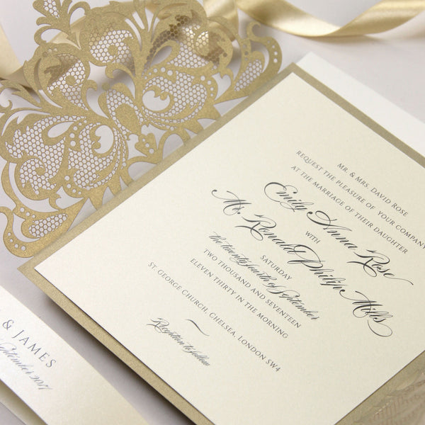Gold and Cream Luxury Gatefold Laser cut Set Wedding Invitation with Monogram Belly Band.