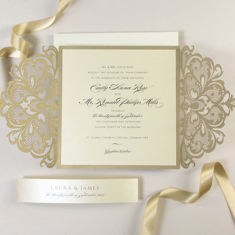 Gold and Cream Luxury Gatefold Laser cut Set Wedding Invitation with Belly Band and Rsvp