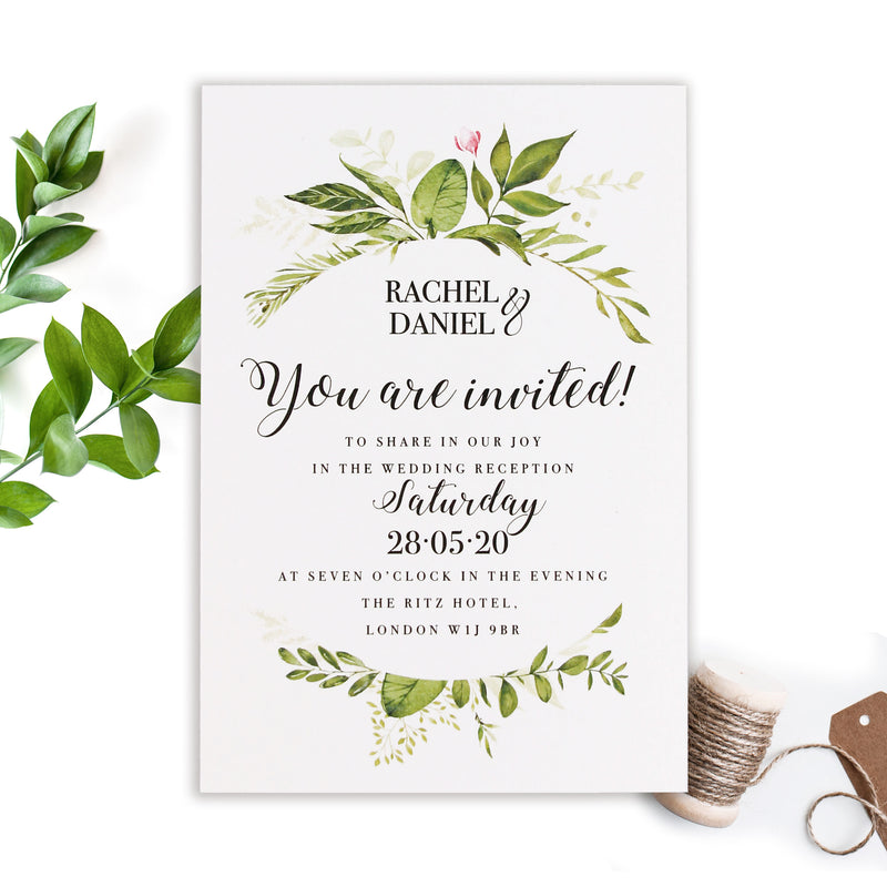 Evening Invitation with Green Foliage Rustic Wedding Set