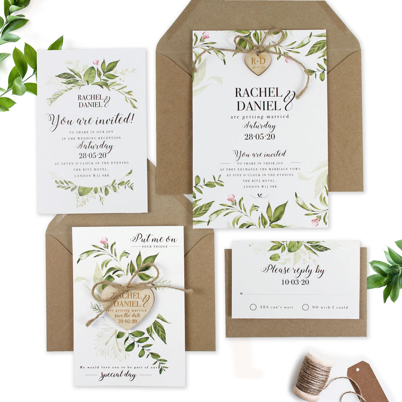 Day Invitation with Green Foliage Rustic Wedding Set with Rsvp Card