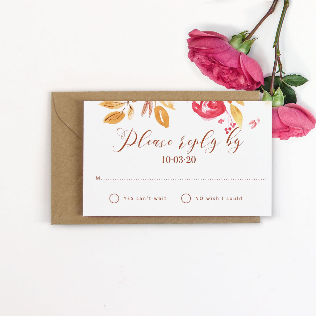 Boho Botanic Evening  stationery set Wedding Day Invitation and RSVP And envelopes.