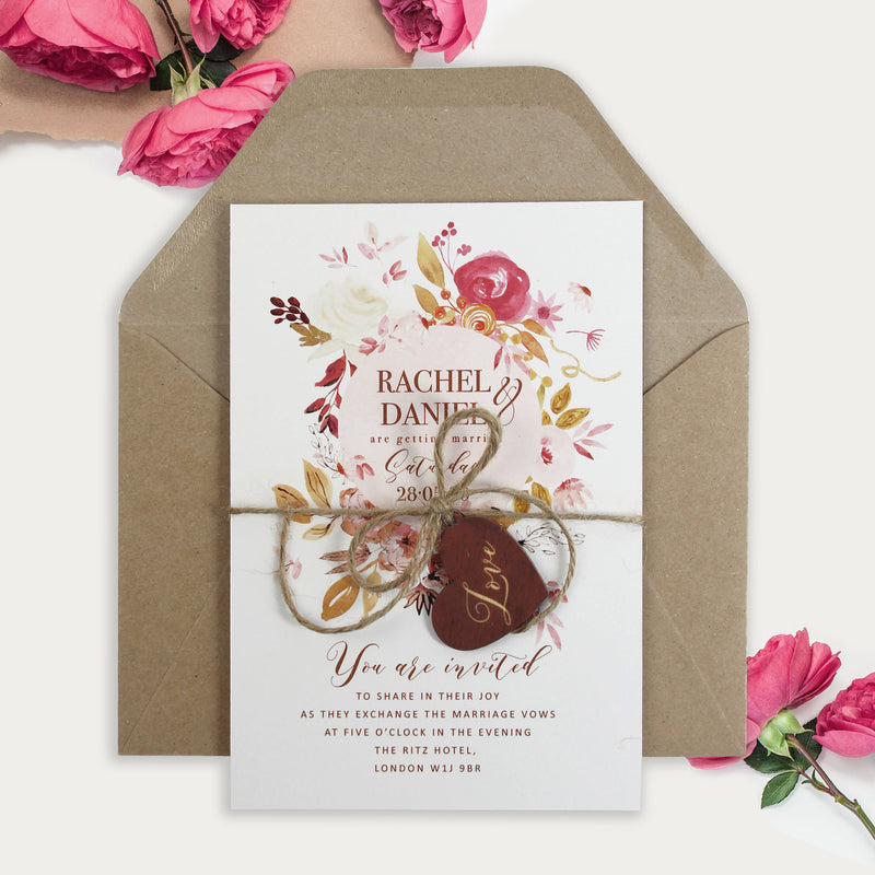 Boho Botanic Floral Day stationery set Wedding Day Invitation and RSVP And envelopes.