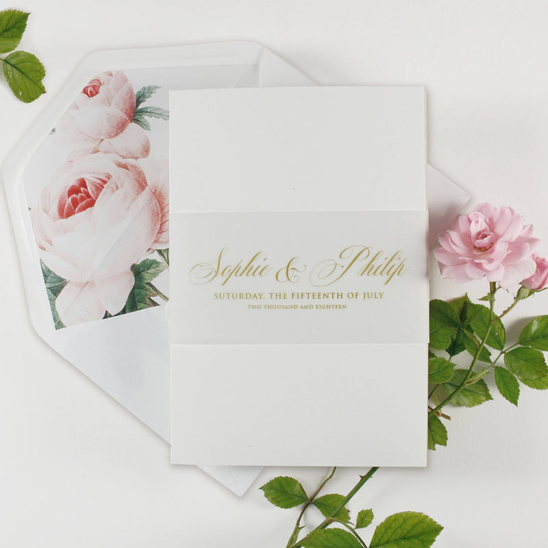 Luxury Gold Foil and Cream Romantic Roses Pocket Fold  Invitation with Parchment Belly Band + Envelopes