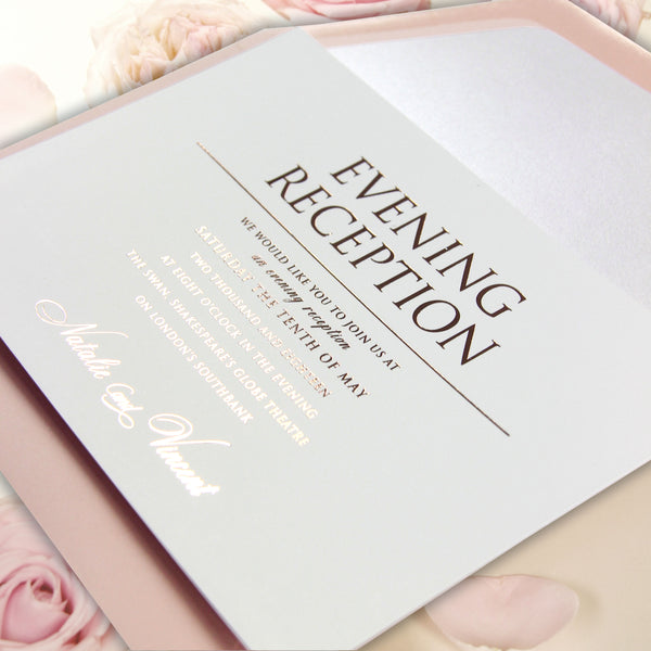 Rose Gold Wedding Evening Invitation Simple Rose Pink with Envelopes