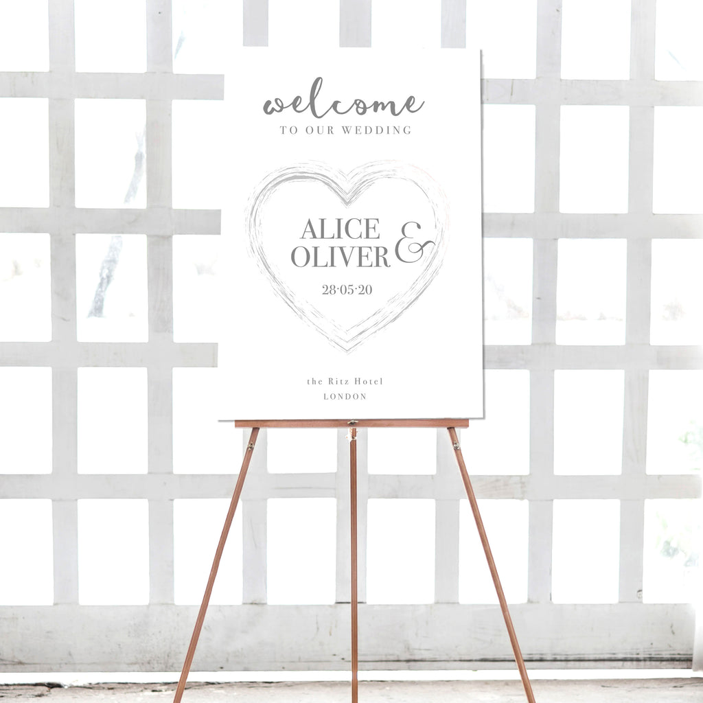 Plexi Heart Silver Heart Matching Welcome Wedding Sign