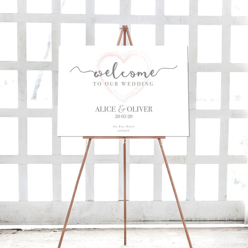 Plexi Heart Rose Gold Heart Welcome Wedding Sign
