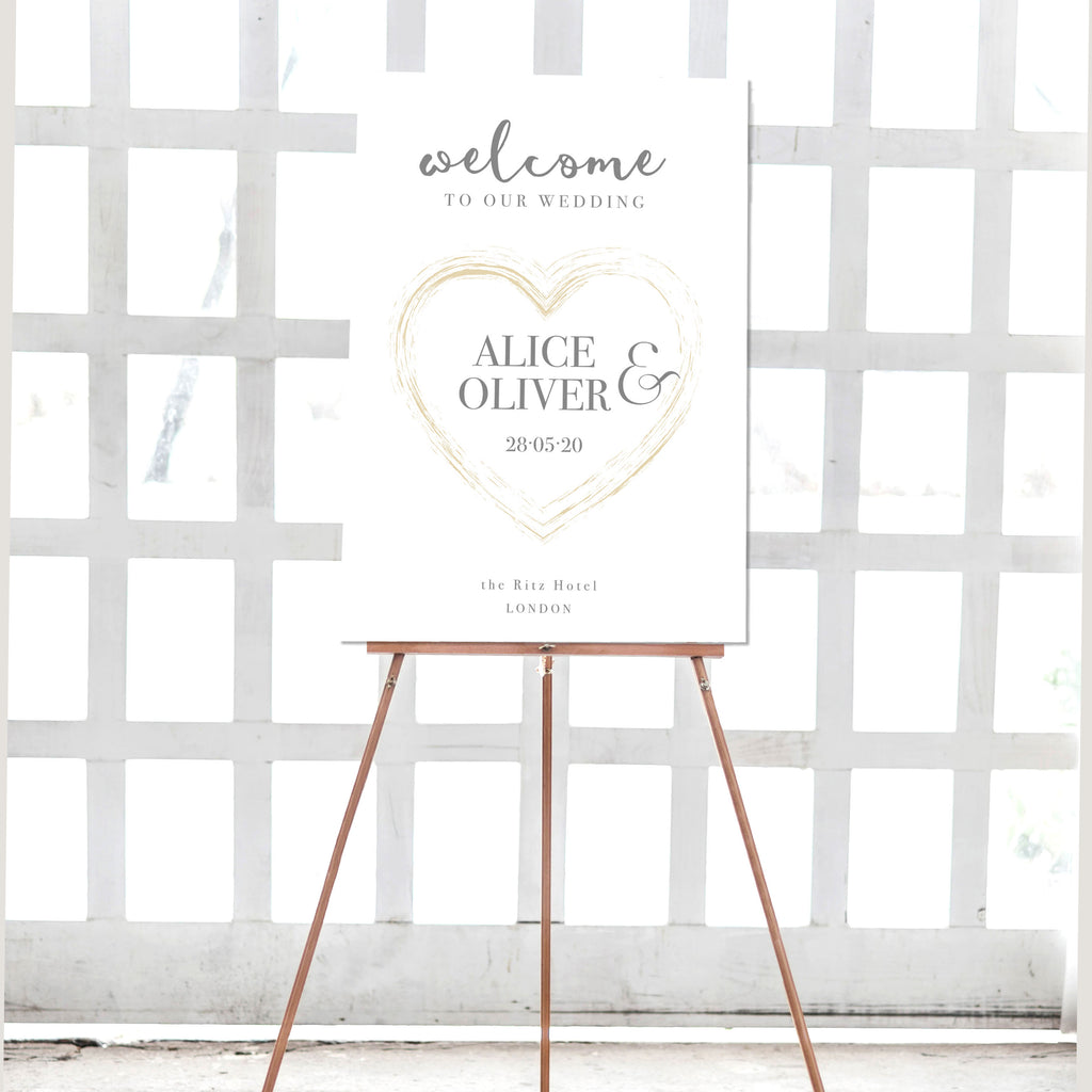 Plexi Heart Gold Heart Matching Welcome Wedding Sign