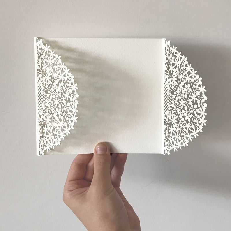 DIY - Rustic Floral Foliage - Luxury Laser Cut Pocket Invitation Cover