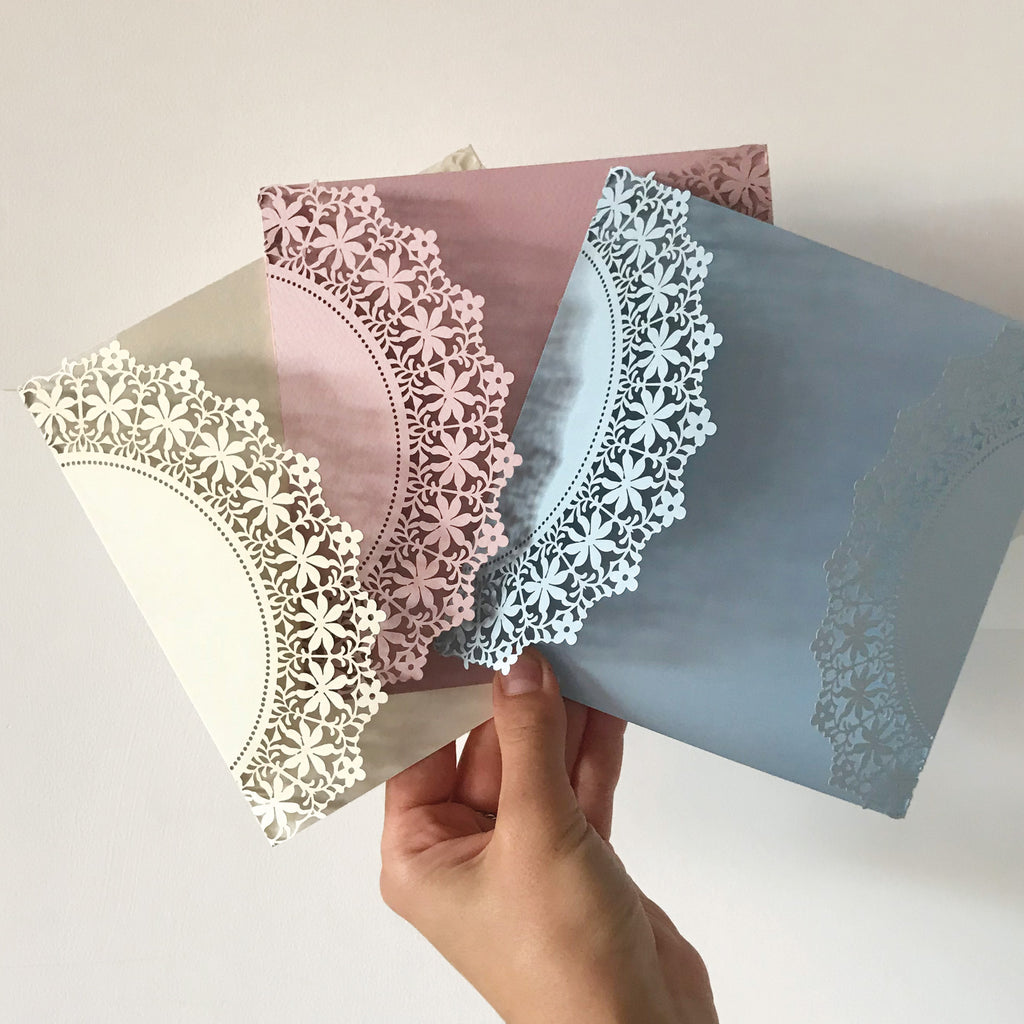 DIY - Delicate Lace Floral Foliage - Luxury Laser Cut Pocket Invitation Cover