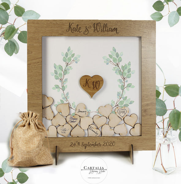 Eucalyptus Green Watercolour Alternative Personalised drop box Oak frame Wedding Guest Book