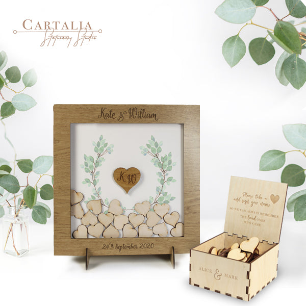 LIGHTENED OAK SMALL FRAME - Delicate Floral Blue Watercolour Botanic Wreath Alternative Personalised drop box Oak frame Wedding Guest Book